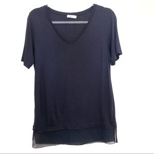 Vince Navy V Neck with Trim Texture Size S